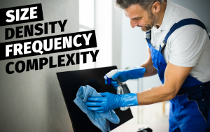 Size, Density, Frequency, and Complexity all affect your cleaning services quote. For the most reliable cleaning services at a price you can't match, call Buildingstars.