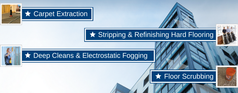 Specialty Cleaning from Buildingstars includes Carpet Extraction, Stripping & Refinishing Hard Floors, Deep Cleans & Electrostatic Fogging, Floor Scrubbing, and More!